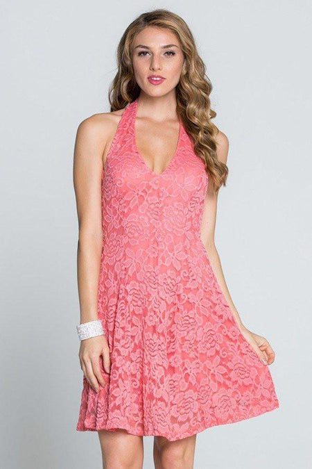 Romantic Tale Coral Pink Lace Halter Dress
