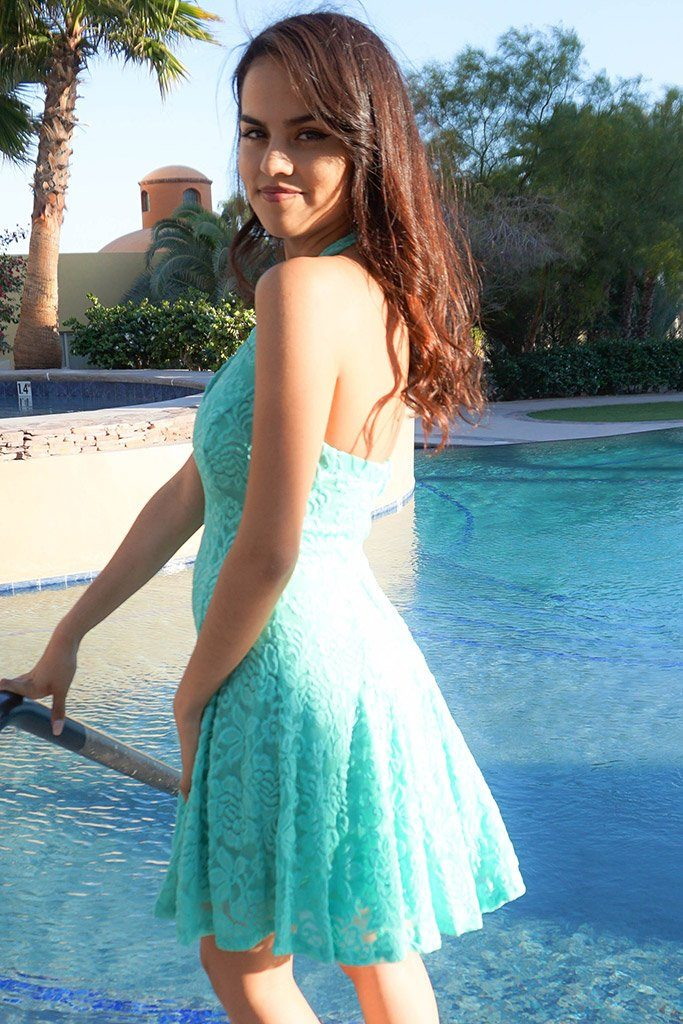 Romantic Tale Mint Lace Halter Skater Dress 2