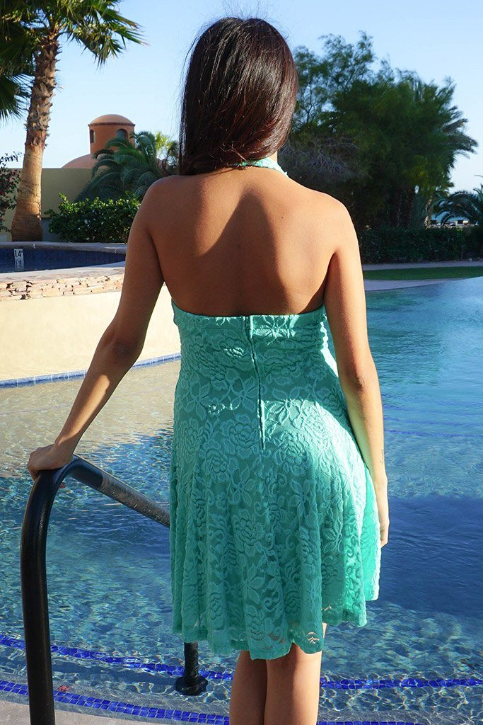 Romantic Tale Mint Lace Halter Skater Dress 3