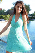 Romantic Tale Mint Lace Halter Skater Dress 4
