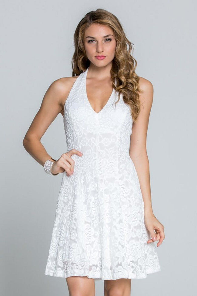 Romantic Tale White Lace Halter Dress 1