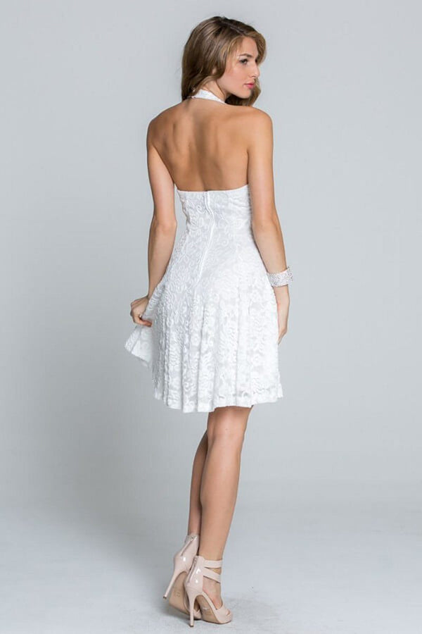 Romantic Tale White Lace Halter Dress 2