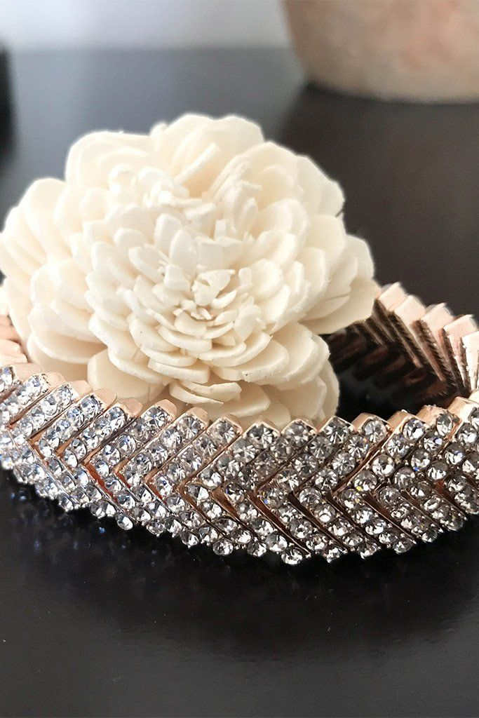 Rose Gold Crystal Diamante Stacked V Cuff Bracelet 1