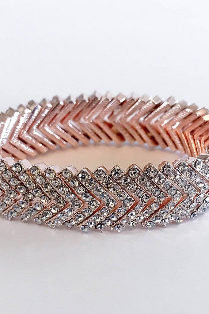 Rose Gold Crystal Diamante Stacked V Cuff Bracelet 3