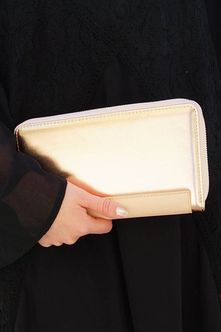 Rose Gold Two Tone Metallic Zip Around Wallet Clutch 1