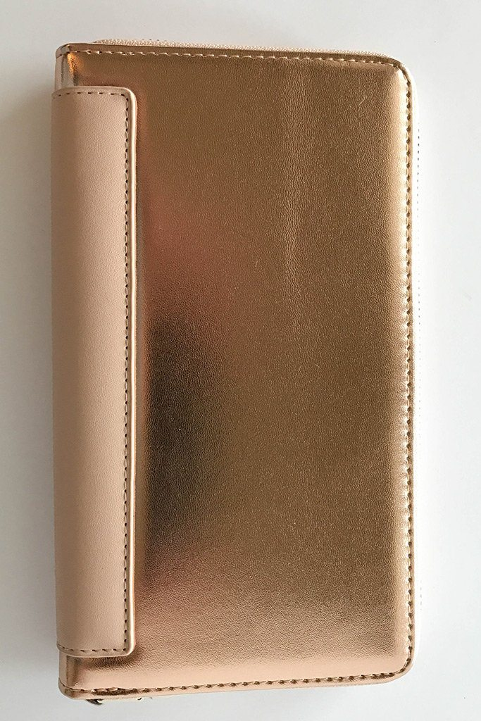 Rose Gold Two Tone Metallic Zip Around Wallet Clutch 3