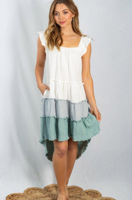 Seaside Retreat White And Sage Tiered Flutter Sleeve Dress 1