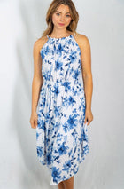 Seaside Vacation Resort Wear Ivory Floral Dress 1