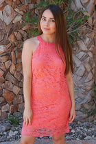 Secret Crush Pink Lace Halter Shift Dress 1