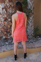 Secret Crush Pink Lace Halter Shift Dress 3