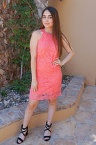 Secret Crush Pink Lace Halter Shift Dress 4