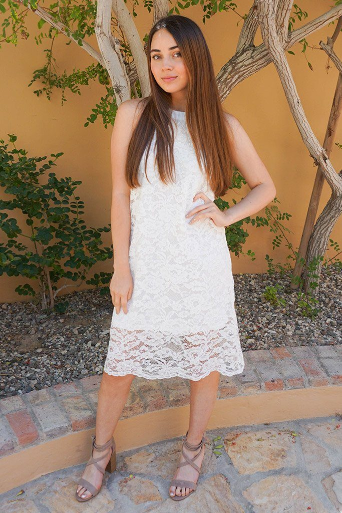 Secret Crush White Lace Halter Shift Dress 4
