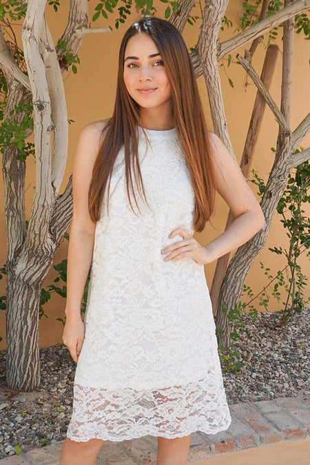 Secret Crush White Lace Halter Shift Dress 1