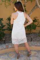 Secret Crush White Lace Halter Shift Dress 2
