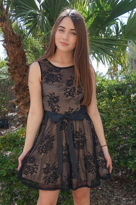 Secret Kiss Black Lace Skater Dress 1