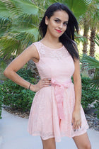 Secret Kiss Blush Pink Lace Skater Dress 1