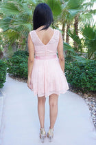Secret Kiss Blush Pink Lace Skater Dress 4