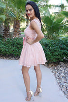 Secret Kiss Blush Pink Lace Skater Dress 3