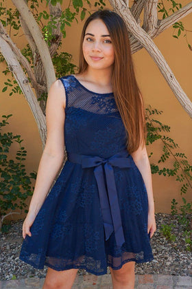 Secret Kiss Navy Blue Lace Skater Dress 1