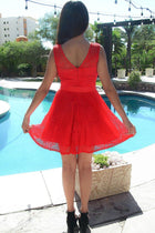 Secret Kiss Red Lace Skater Dress 3