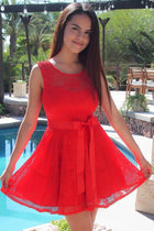 Secret Kiss Red Lace Skater Dress 1