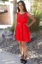 Secret Kiss Red Lace Skater Dress 4