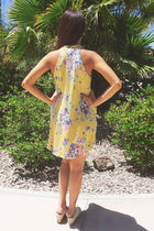 Sense Of Wonder Yellow Floral Print Halter Swing Dress 3