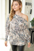 Set A Trend Taupe Animal Print Off The Shoulder Top 3