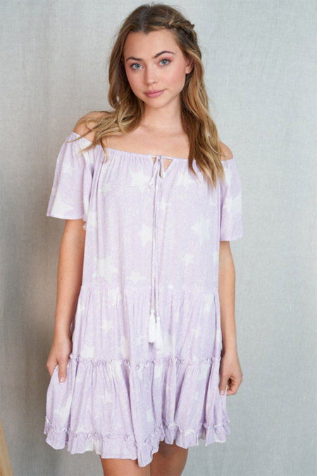 Shine On Me Lilac Star Off The Shoulder Dress 1