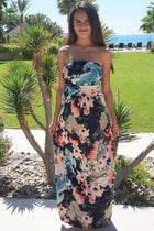 Show Me Off Strapless Watercolor Floral Print Navy Maxi Dress 1