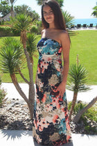 Show Me Off Strapless Watercolor Floral Print Navy Maxi Dress 2