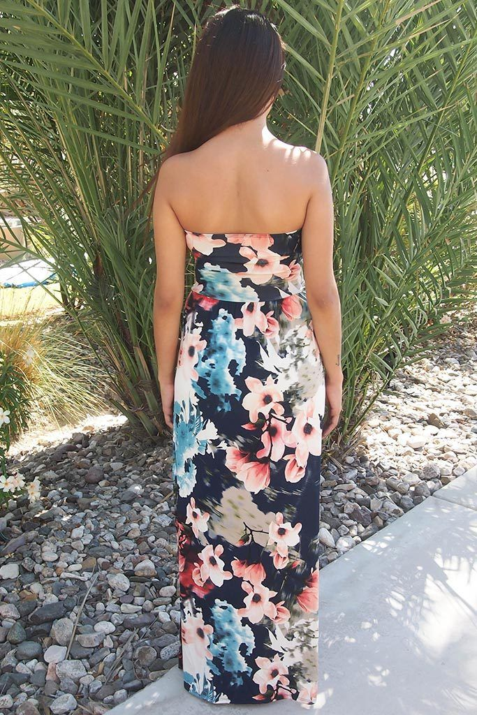 Show Me Off Strapless Watercolor Floral Print Navy Maxi Dress 3