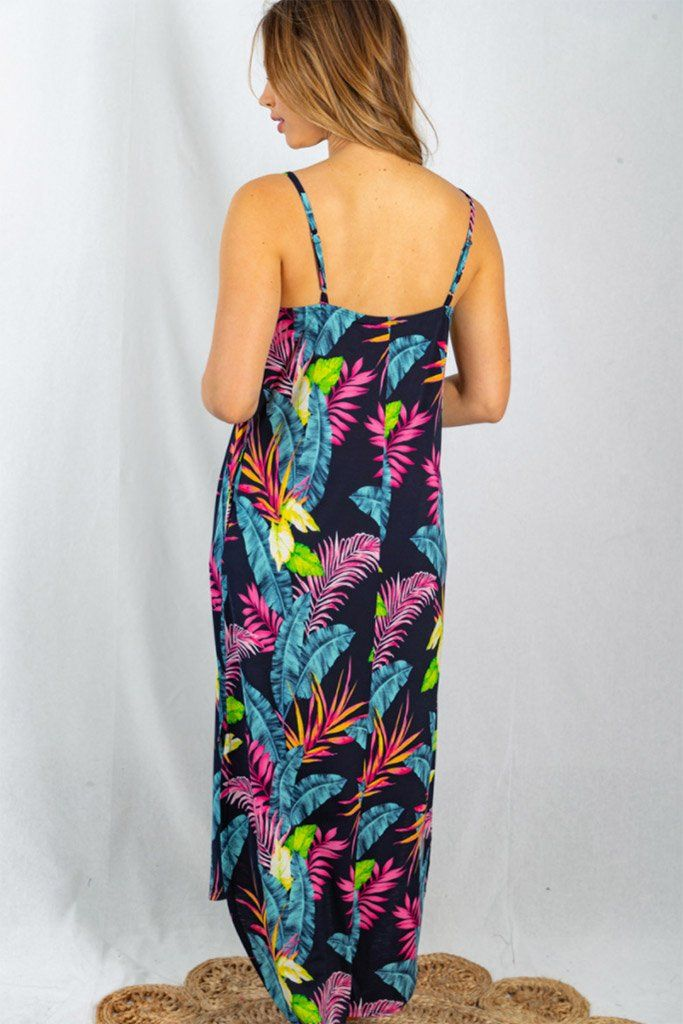 Sign Of The Times Muti Color Tropical Leaf Print Maxi Dress 2