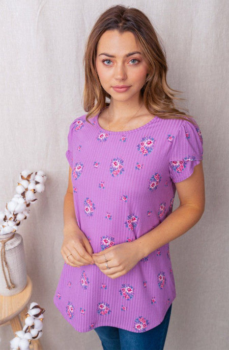 Signature Style Petal Sleeve Lavender Floral Top 1