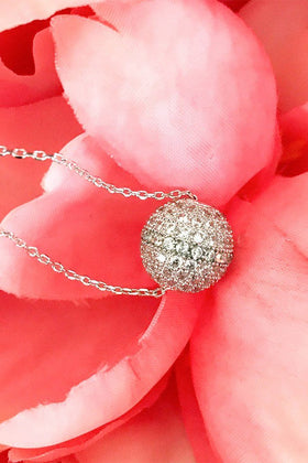Silver Obsession Rhinestone Covered Ball Pendant Necklace 1