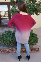 Simply Amazing Burgundy Ombre Wide Neck Long Sleeve Top 3