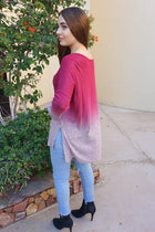 Simply Amazing Burgundy Ombre Wide Neck Long Sleeve Top 2