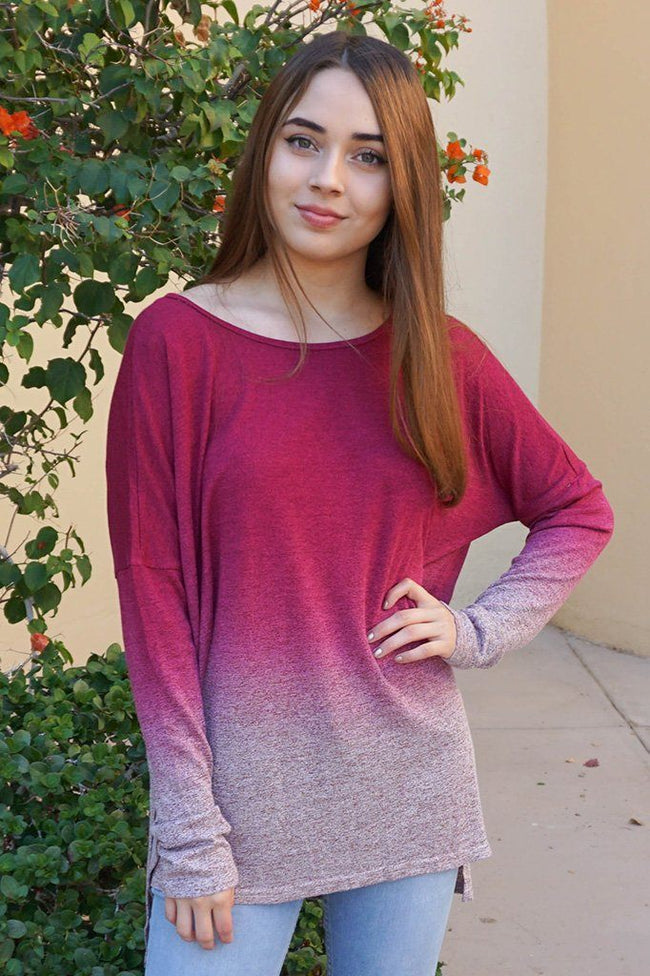 Simply Amazing Burgundy Ombre Wide Neck Long Sleeve Top 1