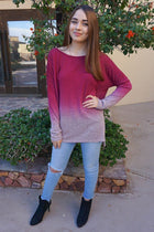Simply Amazing Burgundy Ombre Wide Neck Long Sleeve Top 4