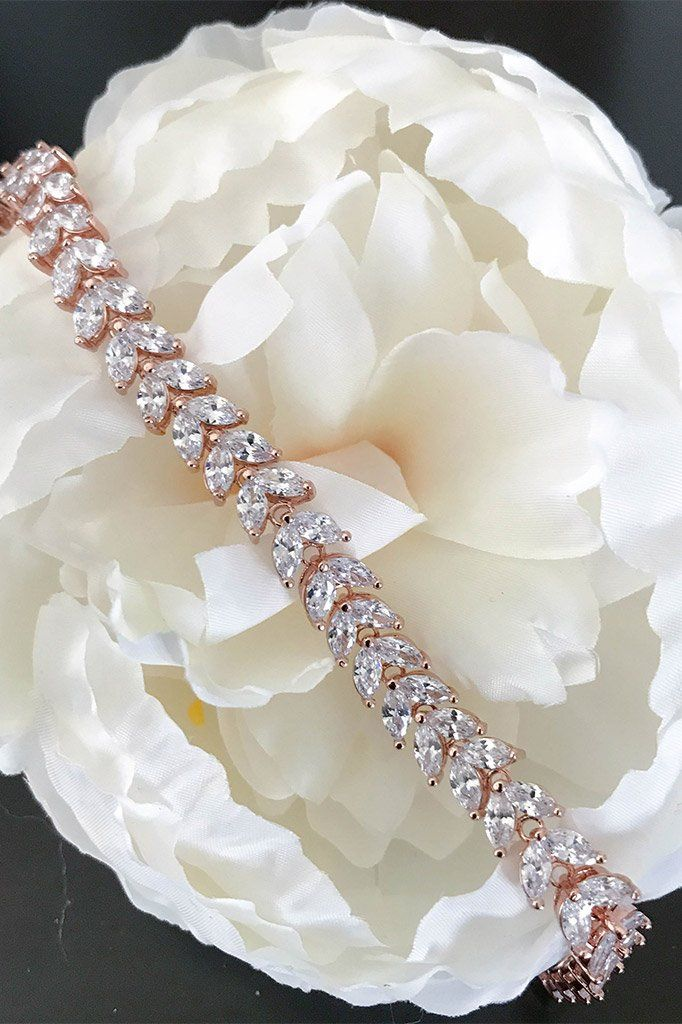 Simply Perfect Diamante Rose Gold Marquise Tennis Bracelet 1