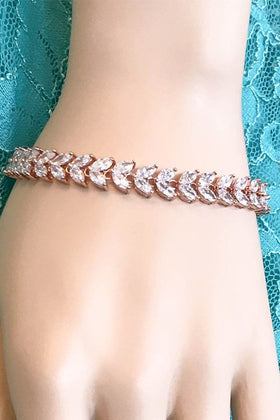 Simply Perfect Diamante Rose Gold Marquise Tennis Bracelet 2