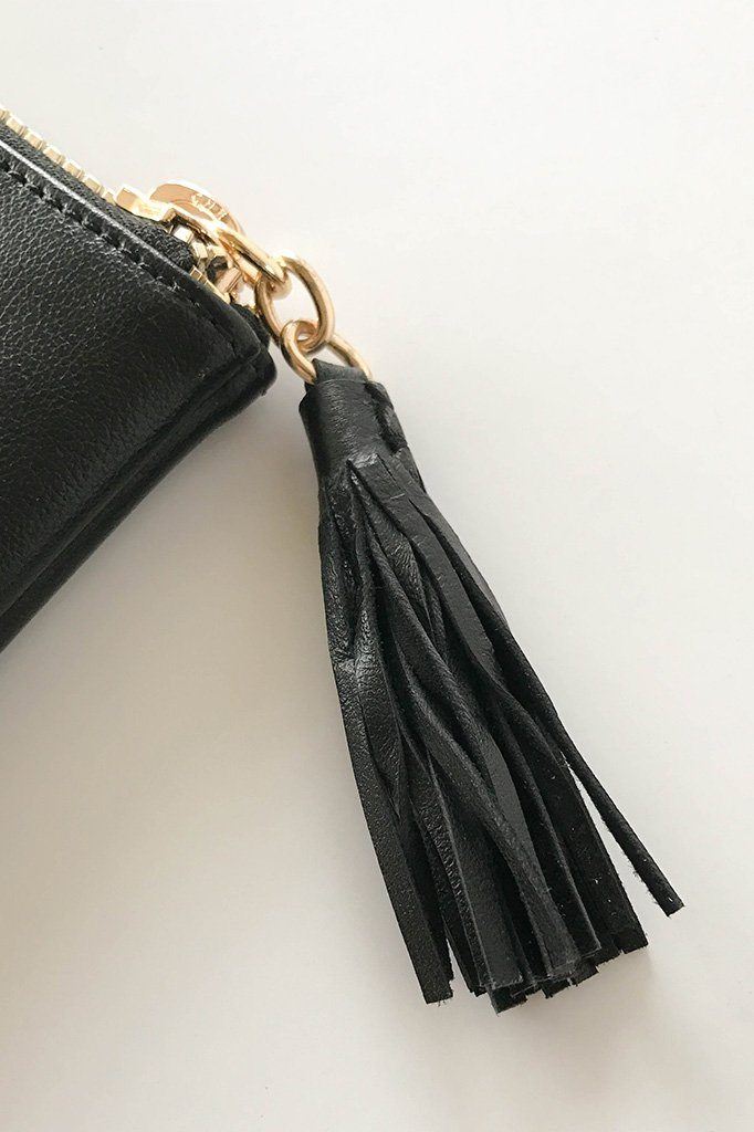 Sincerely Stylish Black Zip Top Tassel Clutch 4