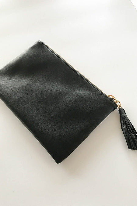 Sincerely Stylish Black Zip Top Tassel Clutch 1