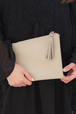 Sincerely Stylish Mocha Brown Zip Top Tassel Clutch 1