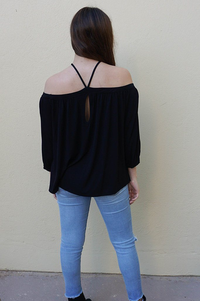 Sing It Now Black Spaghetti Strap Cold Shoulder Top 4