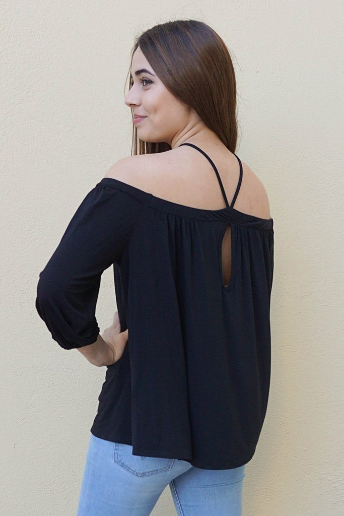 Sing It Now Black Spaghetti Strap Cold Shoulder Top 2