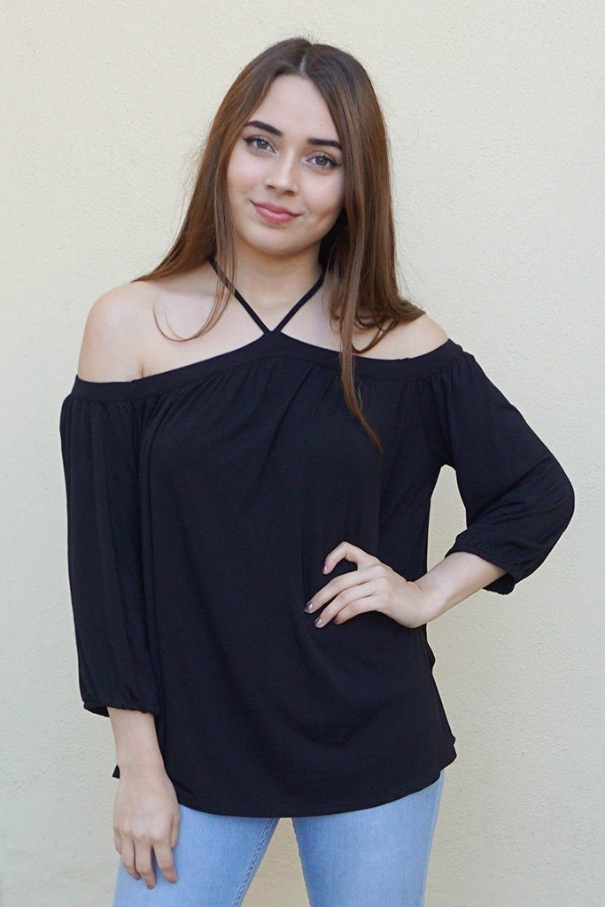 Sing It Now Black Spaghetti Strap Cold Shoulder Top 1