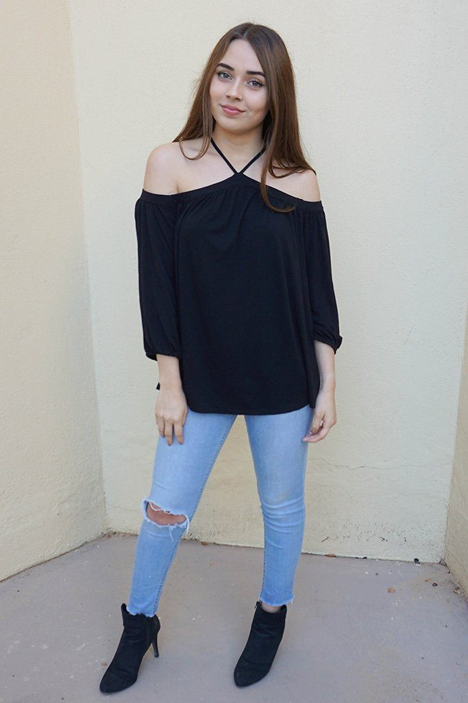 Sing It Now Black Spaghetti Strap Cold Shoulder Top 3