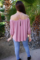 Sing It Now Mauve Spaghetti Strap Cold Shoulder Top 4