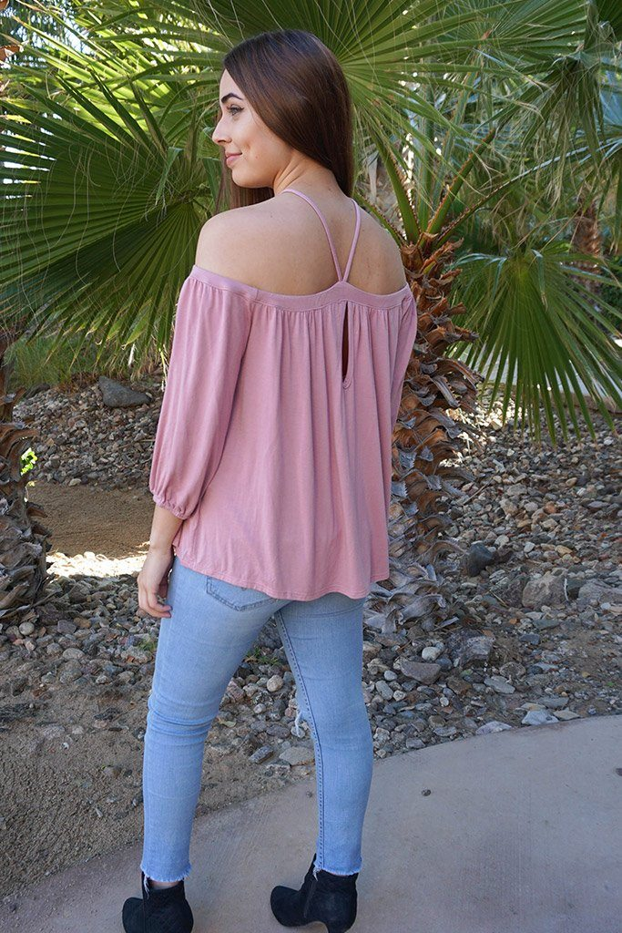 Sing It Now Mauve Spaghetti Strap Cold Shoulder Top 2